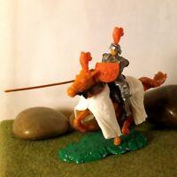 Original Hausser Elastolin 5,6cm Steckfigur beweglich schöner Ritter zu Pferd