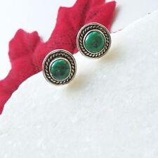 Malachit grün rund elegant Design Ohrringe Ohrstecker 925 Sterling Silber neu
