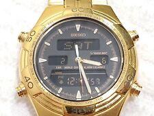 Vintage Seiko Analog Digital World Timer Gold Tone Watch Chronograph Day Date