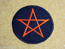 NOVELTY PEACE HIPPIE SEW/IRON ON PATCH:- BLACK & RED GOTHIC PENTANGLE PENTAGRAM