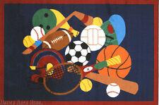"4'3"" x 6'6"" Rug  Balls Sport American  Basketball Football Baseball Hockey 5x7"