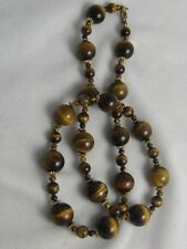 "CLASSIC VINTAGE 15MM , 8MM & 4MM TIGER EYE BEAD GOLD RIBBED ACCENT 25"" NECKLACE"