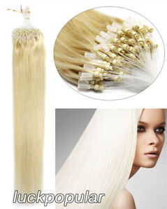 Silicone Micro Rings Micro Loop Beads Tipped Human Hair Extensions Remy Quality