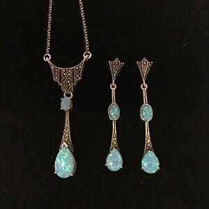 Sterling Silver blue Opal Marcasite Necklace & Earrings set October BirthStone
