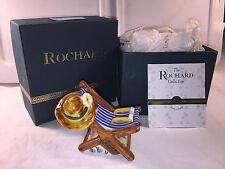 Limoges BEACH CHAIR w/ Sunglasses Hat ~ ROCHARD ~ France ~ RARE ~ Peint Main Box