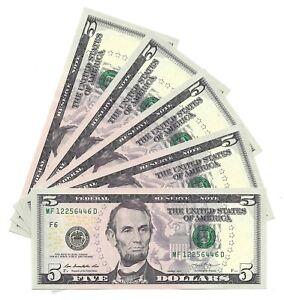 2013 $5 ATLANTA FRNs, 5 CONSECUTIVE & UNCIRCULATED BANKNOTES