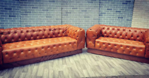 Vintage Chesterfield Tufted Sofa and Loveseat Newly Upholstered