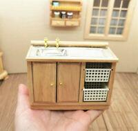 1:12 Dollhouse Miniature Furniture Bathroom Kitchen Sink with Cabinet Basin Set
