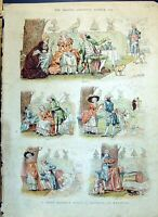 Antique Old Print 1890 Colour Story Without Words Marriage Proposal Romance
