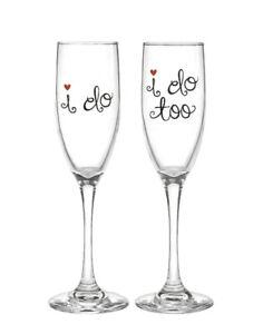 Horense B Hewitt Champagne Glasses Wedding Toast I Do I Do Too New Funny Cute