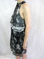 Zimmermann Size 1 or 8 Black Grey Silk Mini Dress