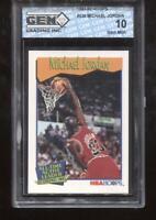 Michael Jordan 1991-92 Hoops #536 Active Leader HOF Chicago Bulls GEM MINT 10