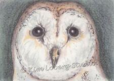 pastel Barn Owl night Bird original Wildlife ACEO Loberg mini art EBSQ nature