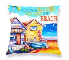 Deborah Broughton Art Throw Pillow Cushion Cover 45x45cm Surf Beach & Kombi Summer Shacks - Text