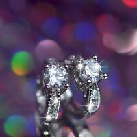 18k white gold gf made with SWAROVSKI crystal classic stud huggie earrings SMALL