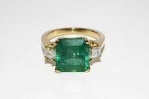 5Ct Asscher Cut Green Emerald Three Stone Engagement Ring 14K Yellow Gold Finish
