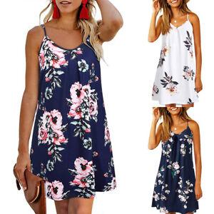 Women Casual Floral Print Dress Ladies Summer Vacation Beach Short Sleeve Dress