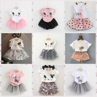Toddler Kids Girls Baby Outfits Clothes T-shirt Tops+Tutu Dress Skirt 2PCS Set