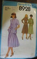 Simplicity sewing pattern no.8928 ladies dress and jacket size 10 vintage