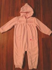 Carters Pink Fleece Pajamas Size 24 Months  Heart Embroidery