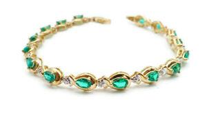 "10k Yellow Gold 2.75 Carat Lab Created Emerald & Diamond Link Bracelet 7.25"""
