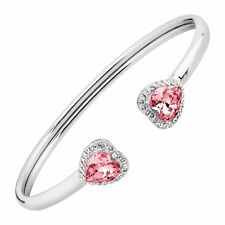 Crystaluxe Heart Cuff Bracelet with Swarovski Crystals in Sterling Silver