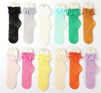 Women Lady Girls Ankle Fancy Fairy Retro Lace Ruffle frilly princess Short Socks