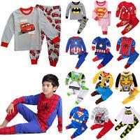 Kids Boys Girls Cartoon Sleepwear Outfit Long Sleeve Superhero Nightwear Pjs Set