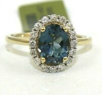 Oval London Blue Topaz & Diamond Halo Solitaire Ring 14k Yellow Gold 2.38Ct