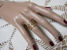 """Vintage SARAH COVENTRY Gold Tone """"Golden Lace"""" Adj. Ring NEW OS"""