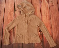 Anthropologie Sleeping On Snow Oatmeal Floral Cable Sweater Hooded Cardigan SZ M