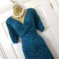 EAST Dress Womens Floral Print Flattering Jersey Blue Green Knotted Front UK 14