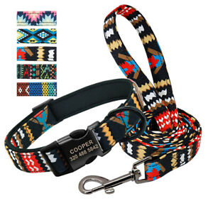 Printed Personalized Neoprene Padded Dog Collar and Leash Engraved Metal Buckle