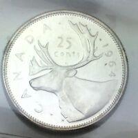 1964 Canada 25 Twenty Five Cents Quarter Canadian Graded ICCS XNI 295 Coin D080