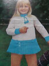 "Knitting Pattern Children Baby Girl Dress 4 Ply Wool Pom Poms 22-26"" Vintage"