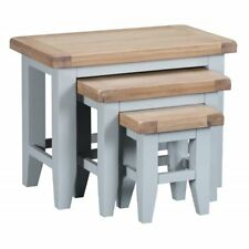 Grey Painted Nest Of Three TablesCountry Style Chunky Oak Top TAUNTON COLLECTION