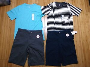 New BOY size 18 LOT of summer clothes 2x flat front shorts & 2x t-shirt