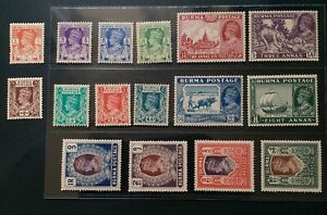 BURMA 1938 KG VI 1p to 10r SG 18b - 33 Sc 18A - 33 pictorial set 16 MNH