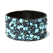 Amrita Singh Silver Tone Turquoise Chips Crystal Cuff Bracelet BRC 158 NWT