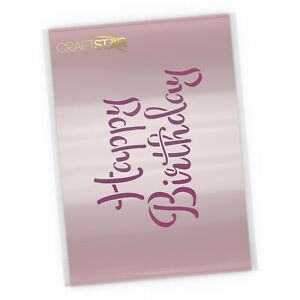 Happy Birthday Stencil - Card, Cake and Crafting Template - Calligraphy Words