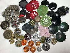 Vintage/Antique Button Lot Celluloid Bakelite Metal Rhinestone Over 75 Buttons