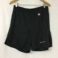 Vtg 80s 90s Black Champion Spell Out Logo Large Mesh Athletic Gym Shorts Mens L