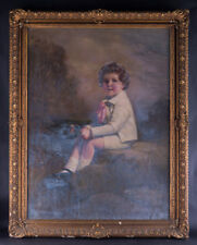 "Huge and Heavy Original Mixed Media On Canvas ""Portrait Of Boy"""