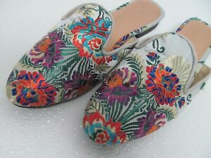 Handmade Embroidered Floral Multi-color Satin Mule Size Women's 9