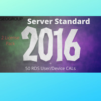 Server 2016 Standard + Remote Desktop Services RDS 50 User/Device Cal
