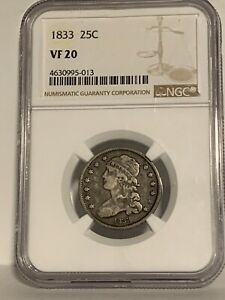 1833 VF20 CAPPED BUST QUARTER DOLLAR. SILVER. NGC GRADED. Type 2 small quarter.