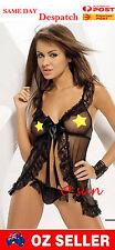 Women Sexy Lingerie Black Lace Open Bra Wrap Dress T-Back Babydoll Nightwear