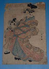 ANTIQUE JAPAN WOODBLOCK PRINT KITAGAWA SHIKIMARO 1806? COURTESAN -ART ON REVERSE
