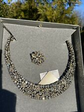 """NWT HEIDI DAUS """"Fantasy in Florals"""" Clear Crystal collar Necklace & Pin Set"""