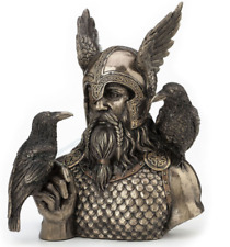 Norse God Odin With Ravens Half Bust - Statue Figure Sculpture **WELL MADE